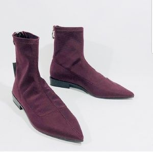 Zara stretch ankle boot- burgundy color